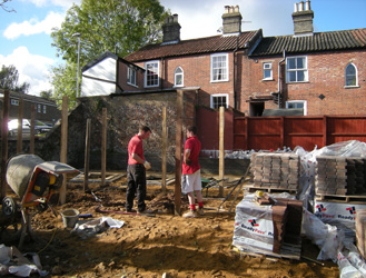 Grapes Hill Community Garden - Putting in block paving and uprights for pergola