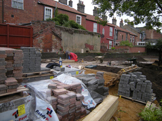 Grapes Hill Community Garden - Putting in more block paving